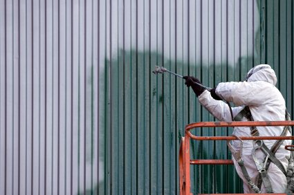 Commercial Painting on Commercial Painting   Painter Painting Side Of Factory