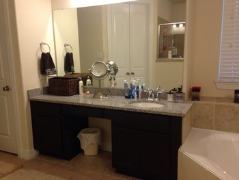 Bathroom vanity after refinishing in Cypress, TX