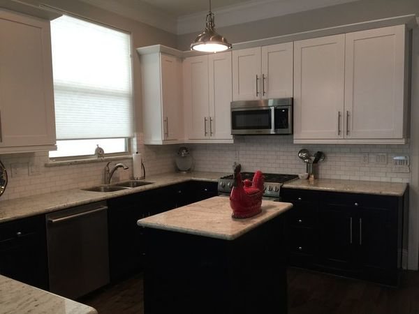 Stripping Off Old Paint, Priming, and Re-Painting of Kitchen Cabinets in Houston, TX (1)