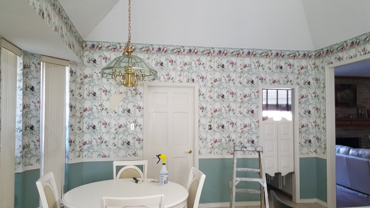Wallpaper Removal, Adding new texture, Priming and Painting of Walls, Ceiling Drywall Repair in Spring TX