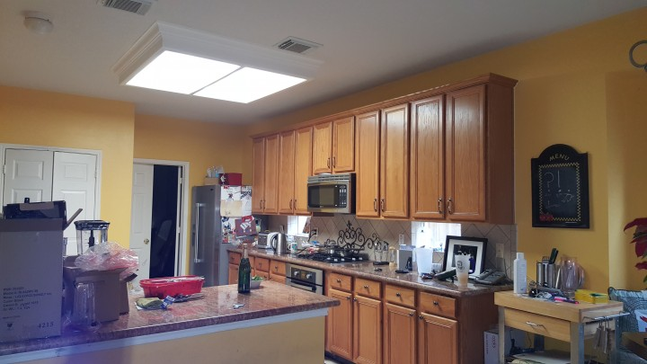 Before and After Cabinet Refinishing and Painting of Walls in Atascocita area