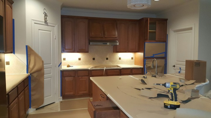 Before and After Kitchen Cabinet Painting in Humble, TX