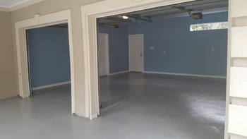 Before and After Garage Floor Epoxy, Wall, Ceiling, and Trim Painting in the Woodlands, TX